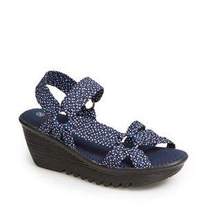 Bernie Mev Navy Polka Dot Slip On Wedge Sandal 38